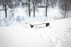 inverno, neve, paisagem, árvore, frio, floresta, árvores, natureza, branco, parque, estação, gelo, geada, céu, nevado, azul, estr imagens de stock