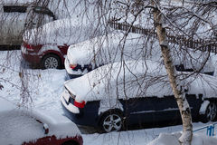 Inverno nevoso delle automobili Fotografie Stock Libere da Diritti