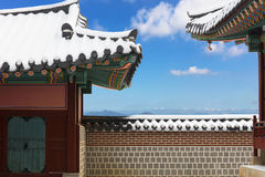 inverno no palácio de Gyeongbokgung Imagens de Stock Royalty Free