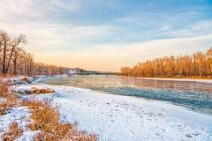 inverno no rio da curva Imagem de Stock Royalty Free