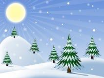 Inverno, paesaggio di mattina Immagine Stock