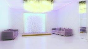 inverno PeФPERM da noite, RÚSSIA - 12 de fevereiro de 2017: O interior branco de Salão - banquet o salão para a cidade do weddir vídeos de arquivo