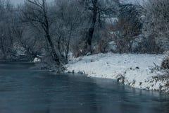 Inverno pelo rio Fotografia de Stock