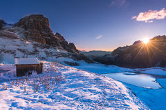 inverno pitoresco nas dolomites Imagens de Stock