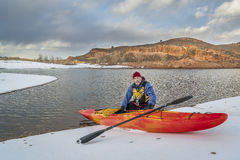 inverno que kayaking em Colorado do norte Fotografia de Stock Royalty Free