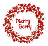 Inverno rosso Rowan Berries di Natale e corona decorativa dei rami Fotografie Stock Libere da Diritti