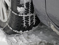 Inverno. Rotella di automobile. Fotografia Stock Libera da Diritti
