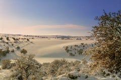 INVERNO RURALE DEL PAESAGGIO Alta Murgia National Park: colline nevose - Puglia ITALIA Immagine Stock