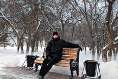 Inverno russo -40, l'uomo coraggioso Fotografie Stock Libere da Diritti