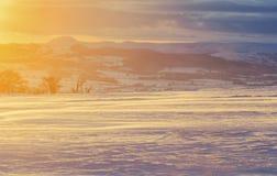 Inverno scenico Ladscape alla luce di tramonto Fotografia Stock Libera da Diritti
