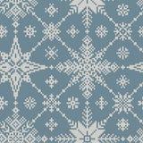 inverno sem emenda teste padrão feito malha dos flocos de neve Fotos de Stock Royalty Free