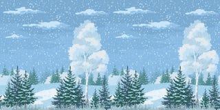Inverno senza cuciture Forest Landscape di Natale Fotografia Stock