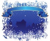 Inverno sopra la città illustrazione di stock