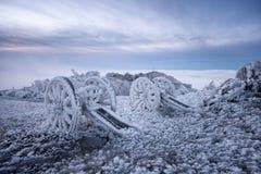 Inverno sul picco di Shipka Fotografie Stock