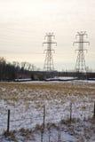 Inverno sulla griglia di potenza Fotografia Stock Libera da Diritti