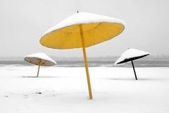 Inverno sulla spiaggia abbandonata Fotografia Stock