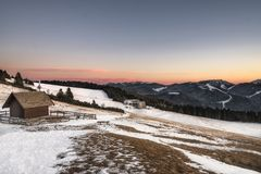 Inverno in trentino sulla montagna vicino al folgaria Immagine Stock Libera da Diritti
