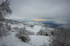 Inverno a Trikala Korinthias, il Peloponneso, Grecia Fotografia Stock