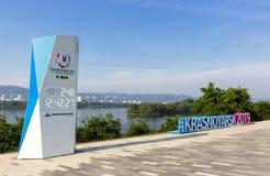 inverno Universiade na cidade de Krasnoyarsk Foto de Stock