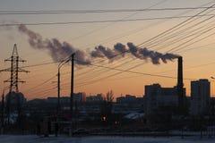inverno urbano do por do sol de volgograd da cidade Fotografia de Stock