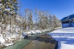 Inverno in valle Isartal Fotografie Stock