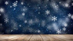 inverno vazio, fundo da neve, tabela de madeira, cena vazia da paisagem do inverno Flocos de neve abstratos, neve ilustração royalty free