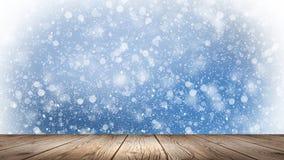 inverno vazio, fundo da neve, tabela de madeira, cena vazia da paisagem do inverno Flocos de neve abstratos, neve ilustração do vetor