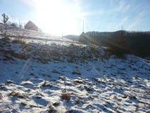 Inverno in Viseul de Jos, Maramures, Romania Immagini Stock