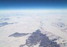 Inverno Vista dall'aeroplano Fotografie Stock