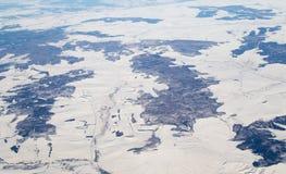 Inverno Vista dall'aeroplano Fotografia Stock