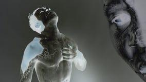 Inversão da pintura do corpo em um homem video estoque