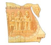 1 inverse de billet de banque de livre égyptienne dans la forme de l'Egypte photographie stock libre de droits