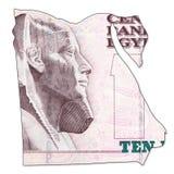 inverse de cadre de billet de banque de livre 10 égyptienne plein dans la forme de l'Egypte Image stock