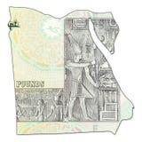 inverse de cadre de billet de banque de livre 20 égyptienne plein dans la forme de l'Egypte Image libre de droits