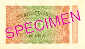20000 inverse du billet de banque 1923 de mark de royaume photos stock