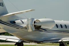 Inverseur de poussée d'avions dans l'action Photo stock