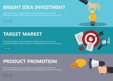 Inversión brillante de la idea, mercado de blanco, banderas de la promoción del producto Fotografía de archivo libre de regalías
