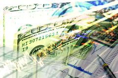 Inversión del dinero y gráfico de la acción del mercado de acción Imagen de archivo