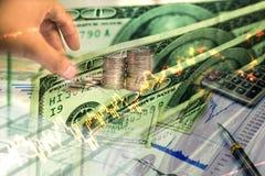 Inversión del dinero y gráfico de la acción del mercado de acción Foto de archivo libre de regalías
