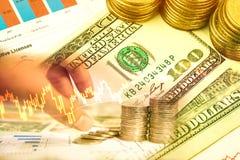 Inversión del dinero y gráfico de la acción del mercado de acción Fotos de archivo libres de regalías