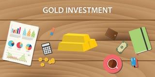 Inversión del oro con la barra de oro con papeleo del gráfico y la tabla de madera como fondo Imagen de archivo libre de regalías