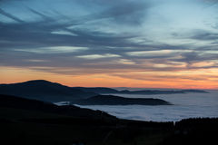 Inversion fog in black forest Stock Photo