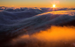 Inversion In The Valley At Sunset Stock Photo