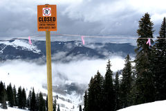 Inversion on the mountain warning sign boundary Stock Image