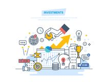Inversiones financieras, márketing, finanzas, análisis, ahorros financieros de la seguridad y dinero Fotografía de archivo