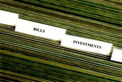 Inversiones que clasifían tabulaciones Fotos de archivo libres de regalías