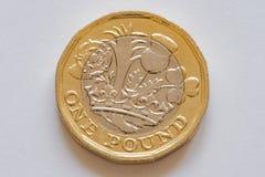 Inverso della moneta britannica una primo piano della libbra Immagini Stock