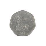 Inverso della moneta di penny di Britannici cinquanta Fotografia Stock