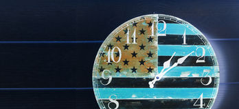 Invert clock with america flag wood wall Royalty Free Stock Image