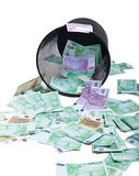 Inverted basket of money Royalty Free Stock Image